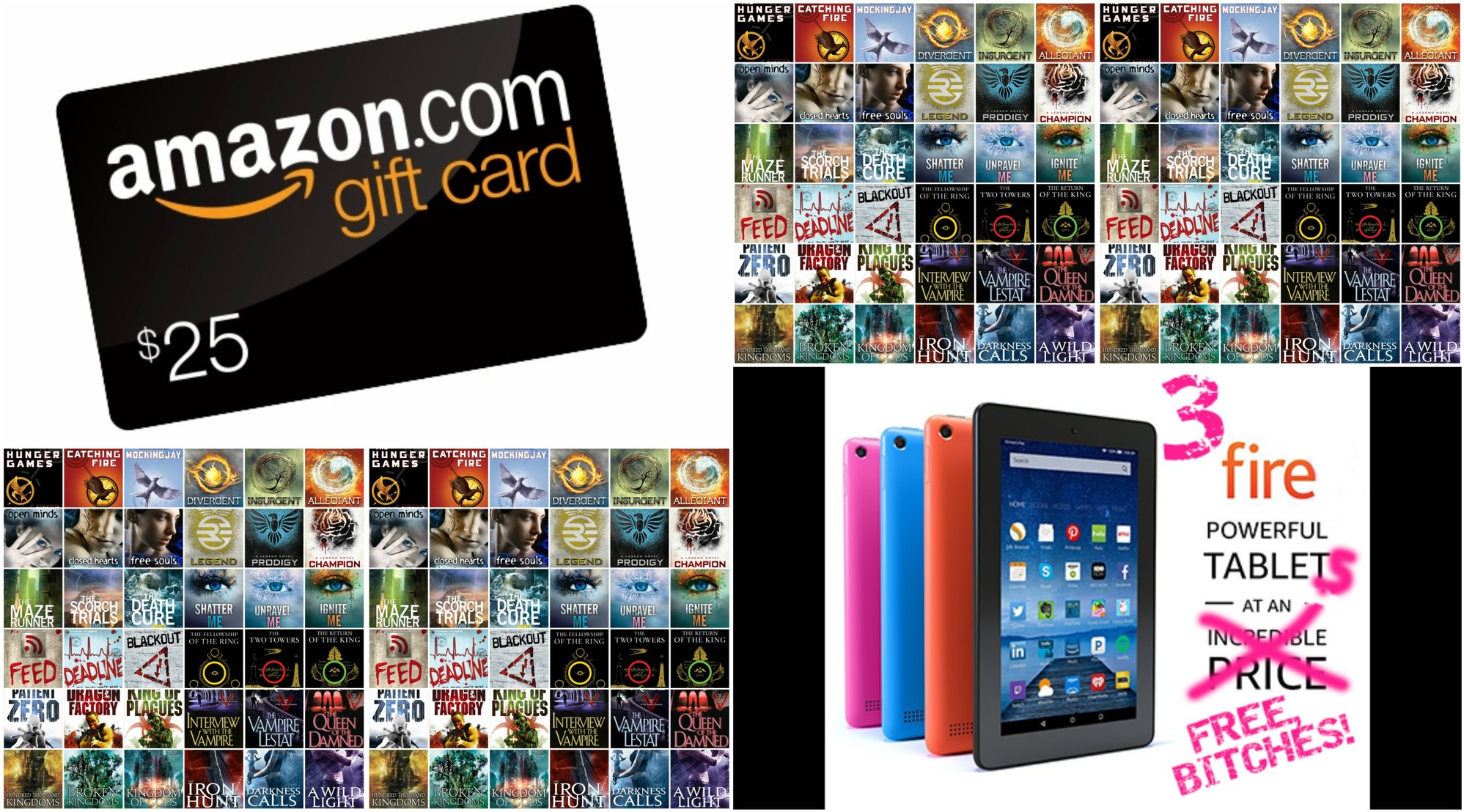 FREE GIVEAWAY! 3 Kindle Fires + $25 Amazon Gift Card + Free E-book Library